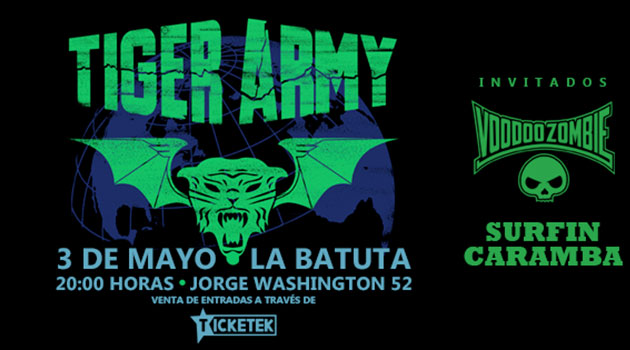 Tiger Army por primera vez en Chile el 3 de Mayo en La Batuta
