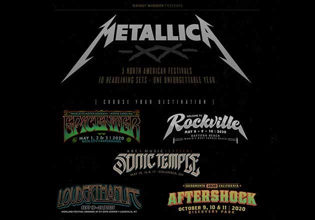 Metallica encabezará 5 de los festivales de Rock más grandes de USA